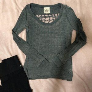 Chaser Open Back Weave Long Sleeve Shirt
